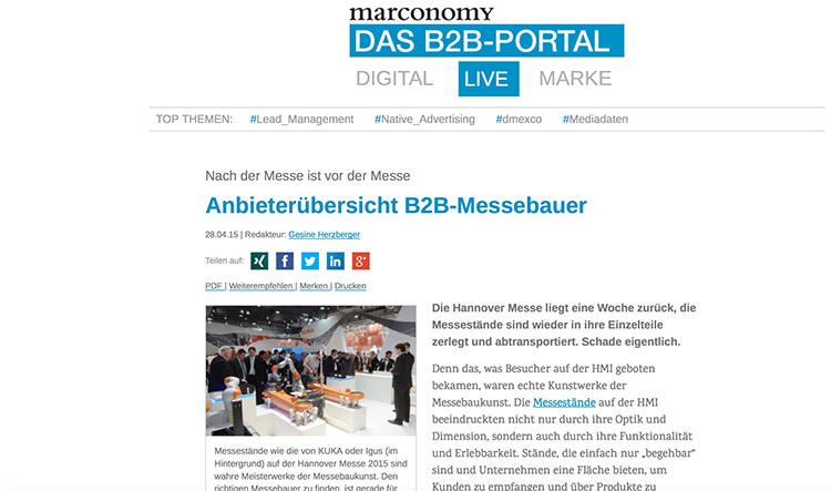 Anbieter Uebersicht Messebauer Standbau