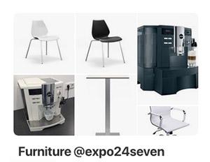 Auswahl an Mietmöbeln für Messestände und Events der expo24seven GmbH