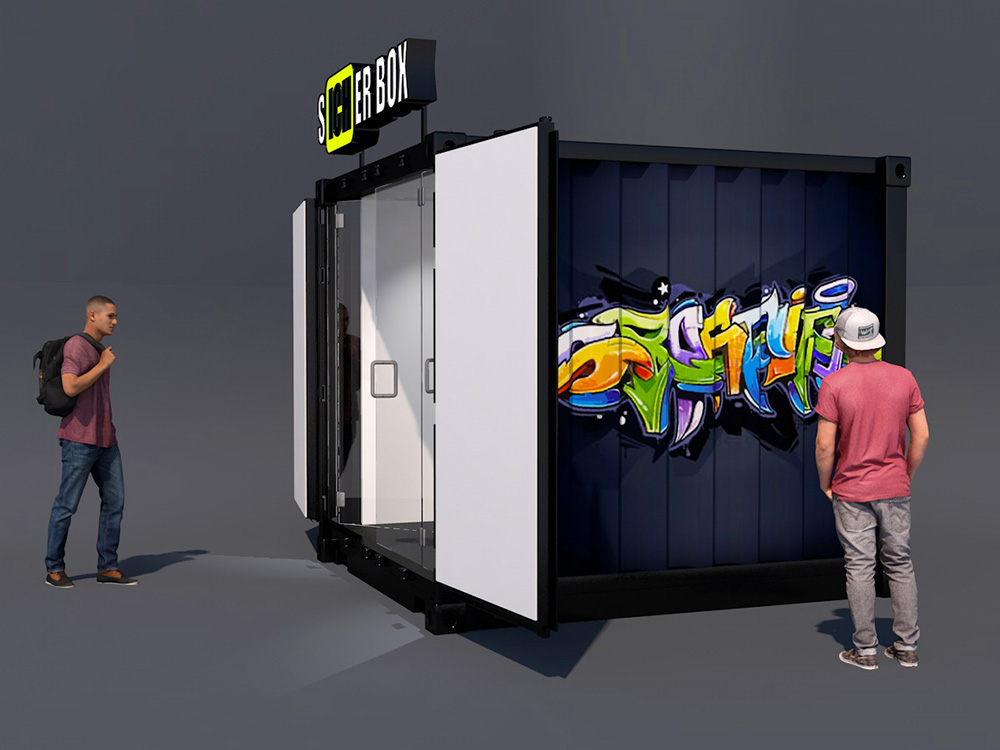 Rendering eines umgebauten 10 Fuss Containers zur Info Box