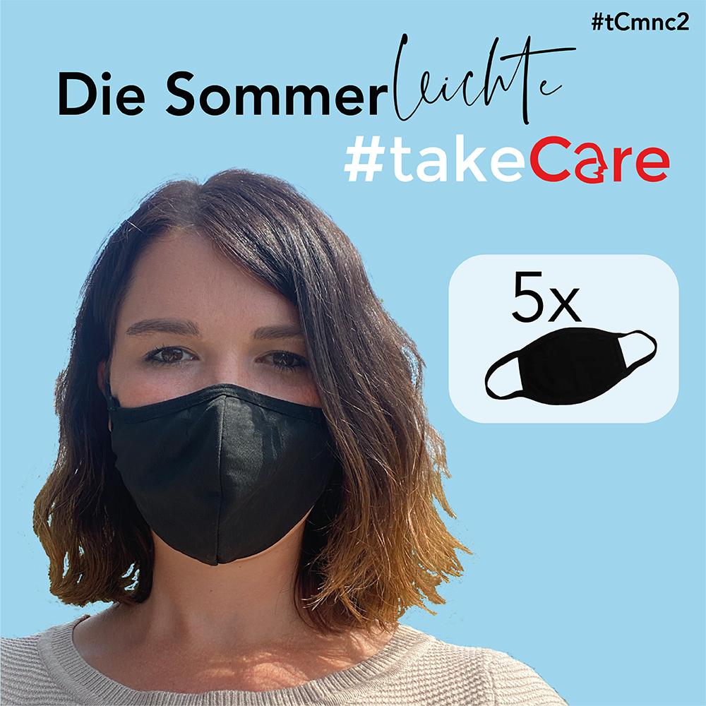 Super leichte #takeCare Mund Nasen Maske schwarz im 5er Set