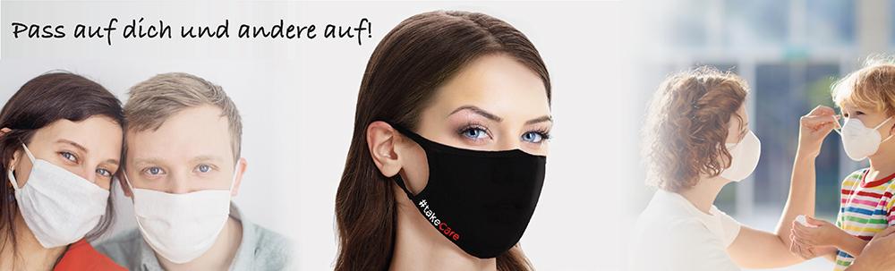 Schöne Frau mit Baumwoll Mundschutz Maske schwarz