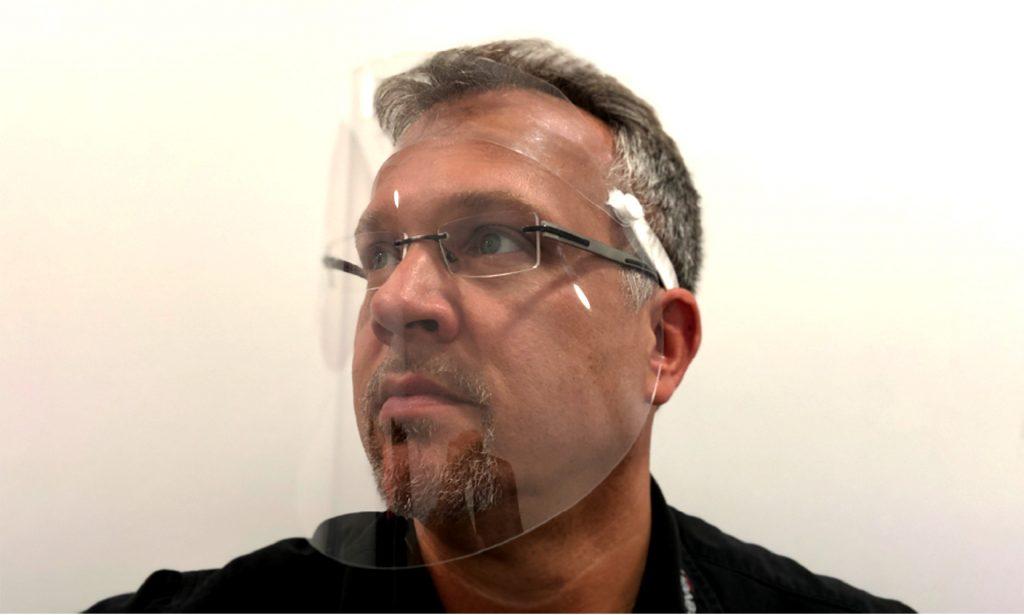 #takeCare Folien Visier für Mund Nase Plexiglas PET klappbar